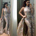 Arabic Girl Dresses Glitter Points Mermaid Evening Dresses Long Detachable Train Evening Gown Gatsby Dress 2017 Arabic Dress