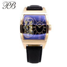 PB Platz Uhr Frauen Gold Handgelenk Hohl Uhr Luxus Echtem Leder Uhren für Frauen Quarz Mechanische Dekoration