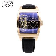 PB kwadratowy zegarek damski złoty zegarek z wycięciami na rękę luksusowe oryginalne skórzane zegarki dla kobiet mechaniczna dekoracja kwarcu