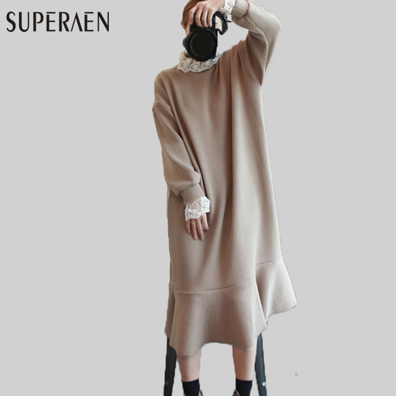 SuperAen Lace Stitching Dress Women Solid Color Loose Fashion Ladies Dress Autumn and Winter New 2017