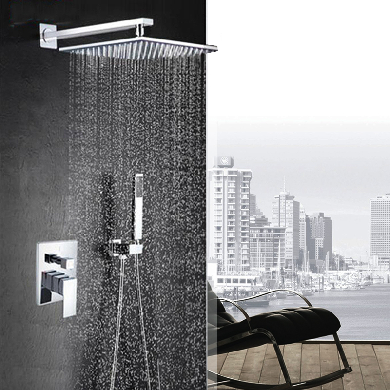 цена на Chrome Shower Faucet 8 INCH Rain Shower Head Bath Shower Faucet System Single Handle Shower Mixer with Handshower