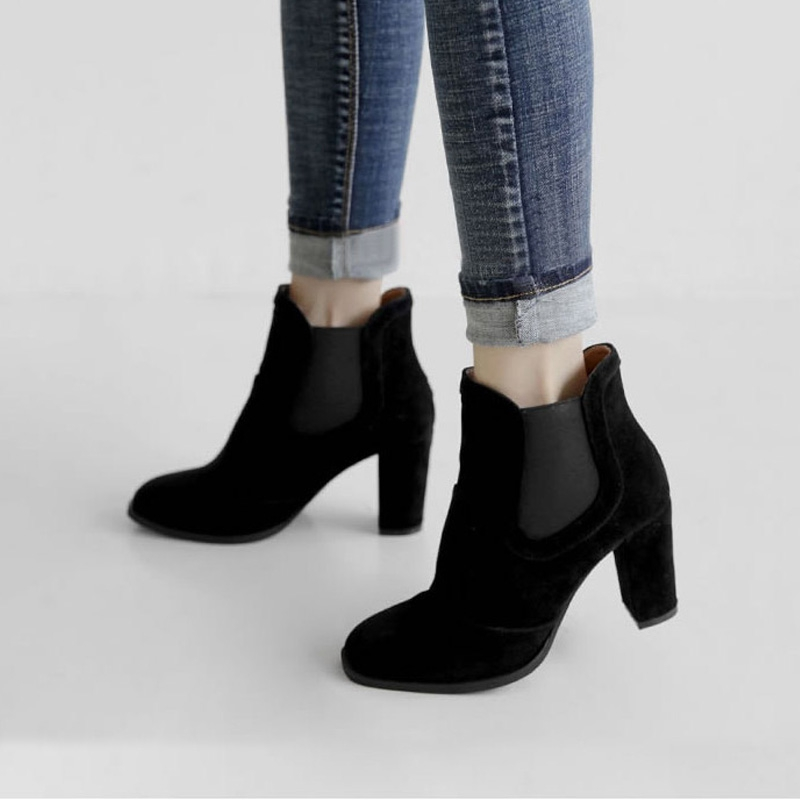 ENMAYER 2018 Brand Design Tassel Rivet Boots Natural Leather Stretch Ankle Boots Women Pointed toe Shoes Woman Thick Heel CR1726 in Ankle Boots from Shoes