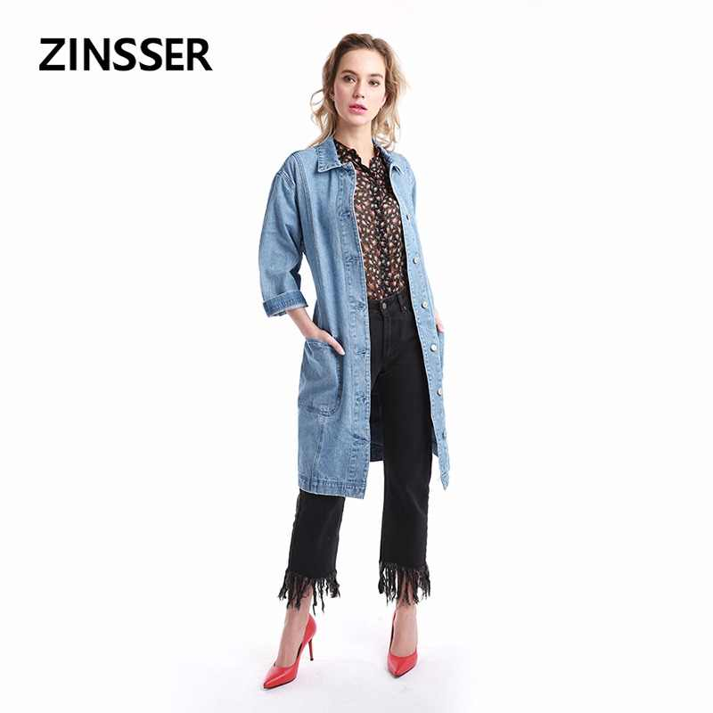 Women Denim Fancy Jacket Regular Casual Long Windbreaker Long Sleeve 100% Cotton Washed Blue Female Lady Coat