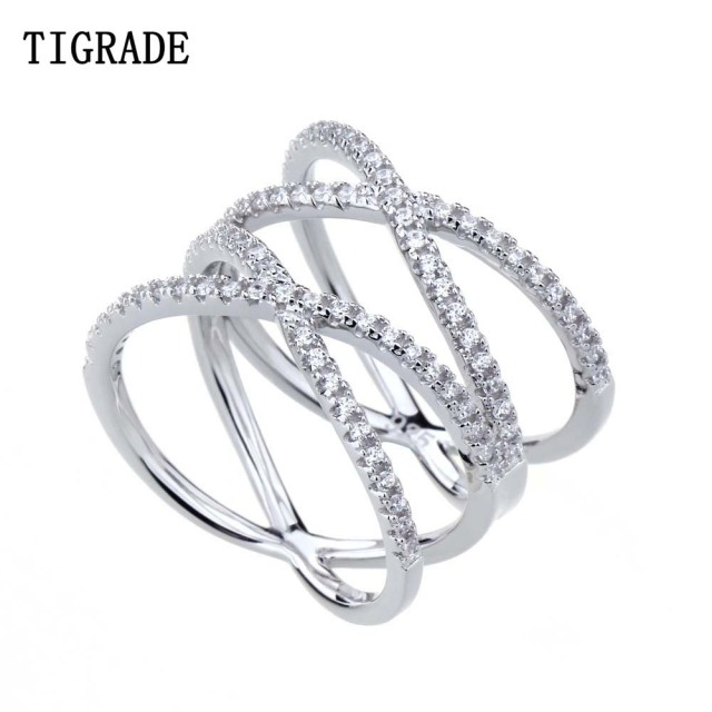 tigrade cubic zirconia 925 sterling silver ring double cross wedding band classic multi layer women rings - Cross Wedding Rings