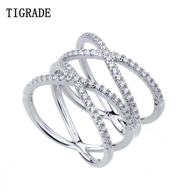 Tigrade Cubic Zirconia 925 Sterling Silver Ring Double Cross Wedding Band  Classic Multi Layer Women Rings