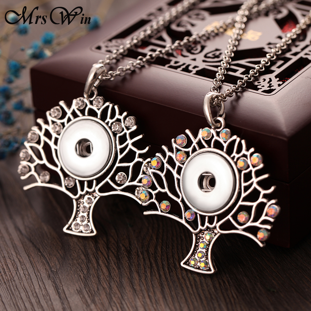 New Snap Jewelry High Quality Tree of Life Snap Pendant Necklace fit Snap Button Necklaces 18mm 20mm For Women Button Jewelry snap button jewelry