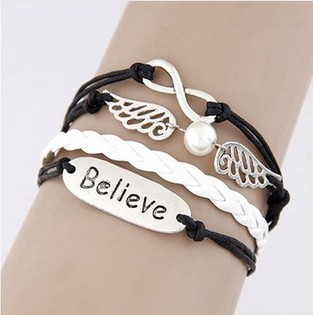 F&U New 2015 Retro Leather Bracelet Creative Retro Love Believe Heart Hungry Bird 8 Word Cross Hand Woven PU Bracelets & Bangles