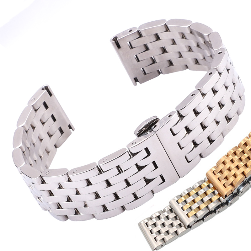 Watch Band Strap Stainless Steel 20mm 22mm Men Women Straight End Bracelet Silver Rose Gold Watchband Clasp Accessories top quality new stainless steel strap 18mm 13mm flat straight end metal bracelet watch band silver gold watchband for brand