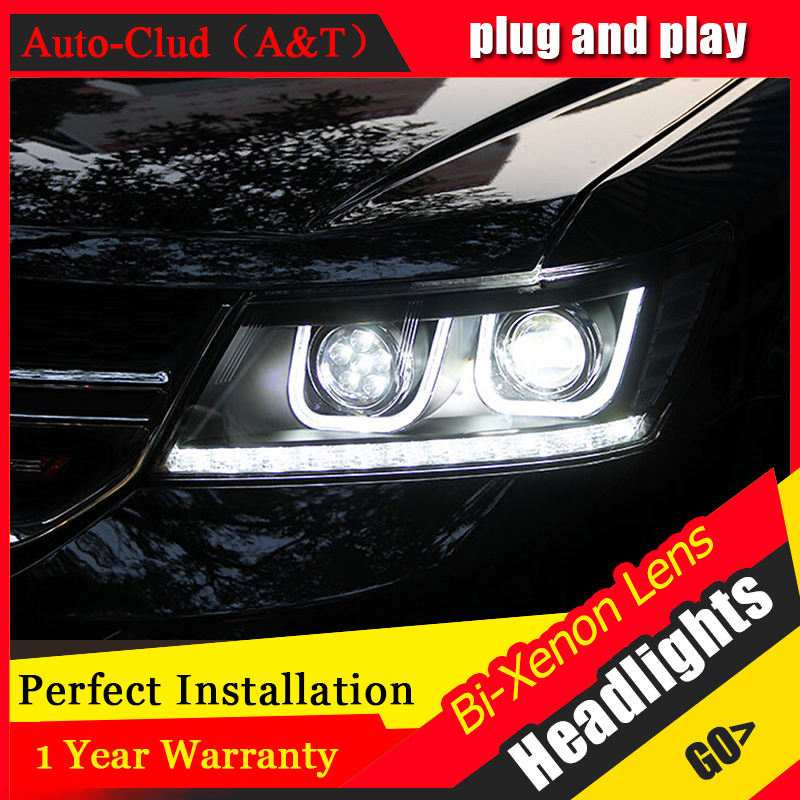 Auto Clud Car Styling for Dodge JCUV LED Headlight 2008-2015 Journey Headlights Freemont drl Lens Double Beam H7 HID Xenon hireno headlamp for 2016 hyundai elantra headlight assembly led drl angel lens double beam hid xenon 2pcs