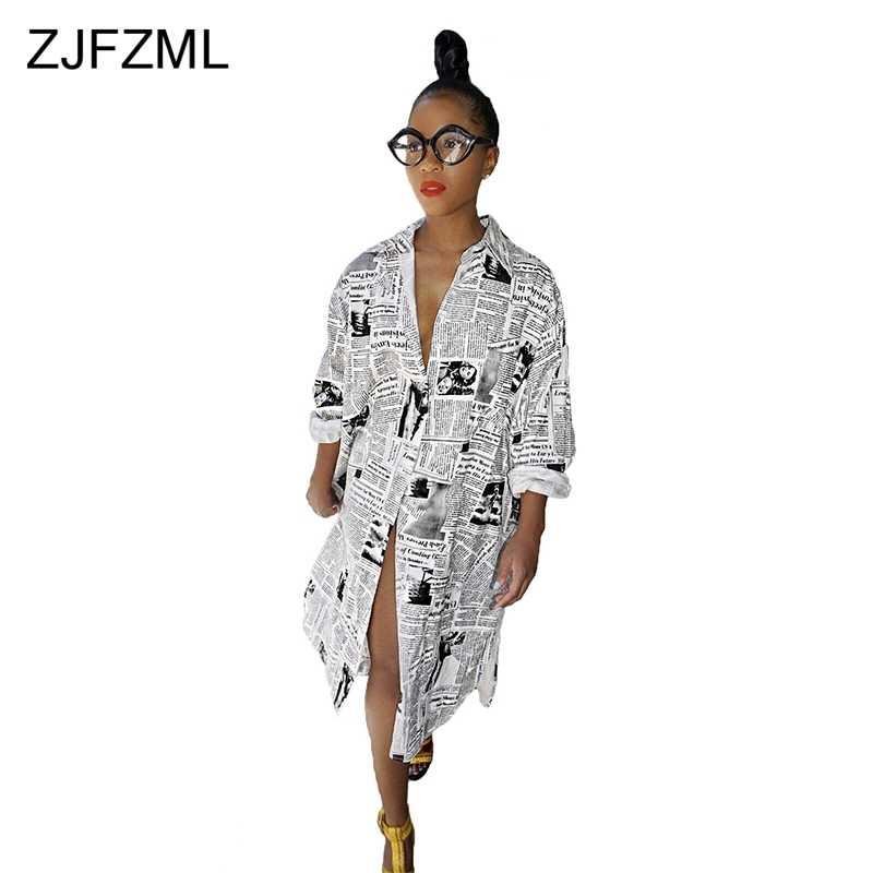 f734b366c8847 Newspaper Printing Sexy Plus Size Dress 2018 Women Turn-Down Collar Long  Sleeve Loose Dress