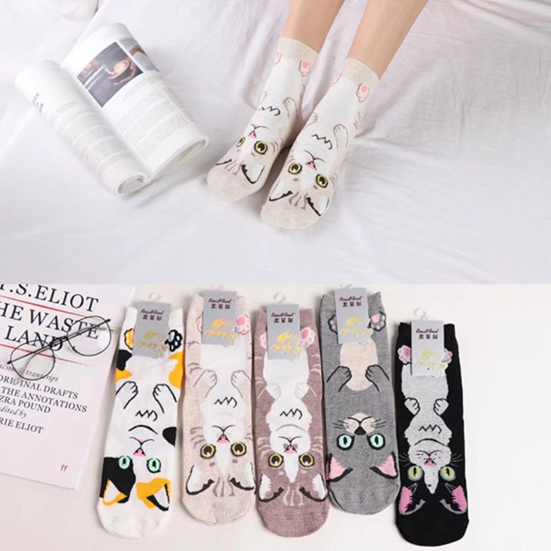 2018 Spring Newly Cute Cartoon Cat Animal Print Women Ankle-High   Socks   Combed Cotton Brand Quality Feel Comfortable Lady   Socks