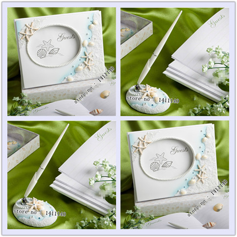 Beach Theme Summer Destination Sea Shell And Star Wedding Guest Book Pen Serving Set With Free Shipping 2pcs Lot In Party Diy Decorations From Home Garden