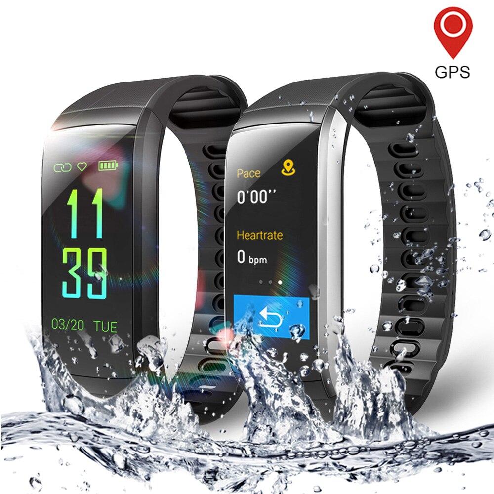 41fe7b1e03e9 Reloj inteligente Fitness para hombres y mujeres Monitor de ritmo cardíaco  IP68 impermeable natación podómetro GPS correr reloj deportivo para Android  IOS ...