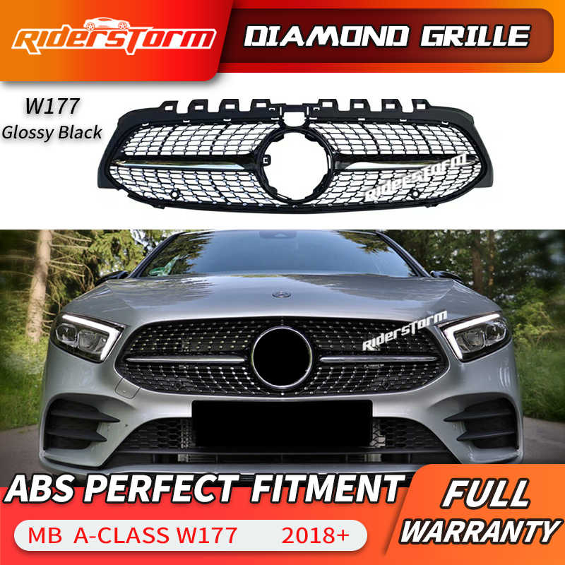 2019 New A Class W177 Amg Diamond Grille Front Bumper Racing Car Styling For Mercedes A200 Sports Sedan Front Grill