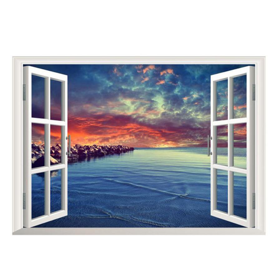 wall stickers home decor mural 3d ocean sea window home decor wall art vinyl home decor stickers pegatinas de pared poster