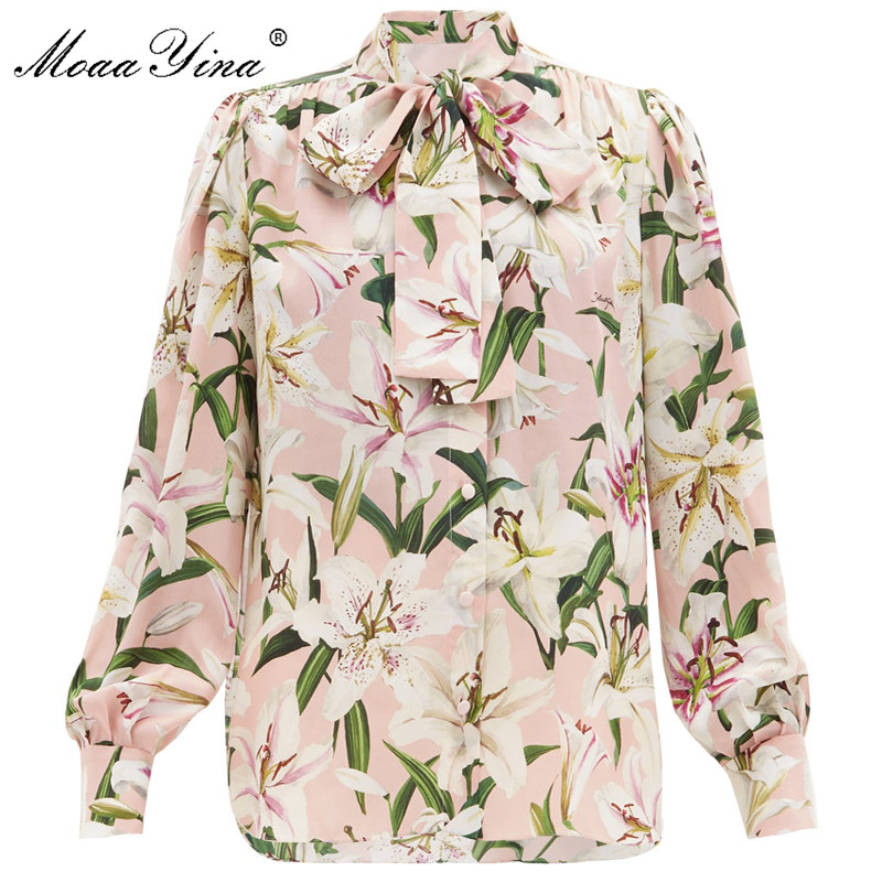 MoaaYina High quality Fashion Silk Blouse Summer Women Bow Collar lily Floral Print Elegant Silk Shirt