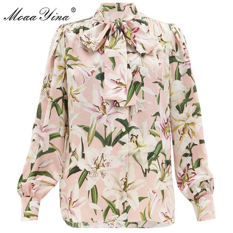 MoaaYina High quality Fashion Silk Blouse Summer Women Bow Collar lily Floral Print Elegant Silk Shirt