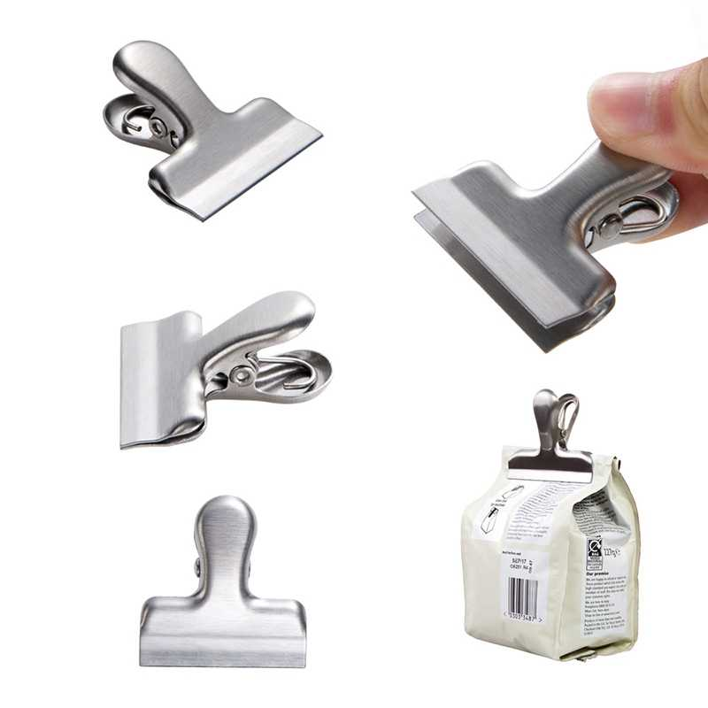 Snack Sealing Clips Stainless Steel Food Clips Seal The Coffee Beans Seal Food Storage Bags Food Saver Travel Kitchen Gadgets