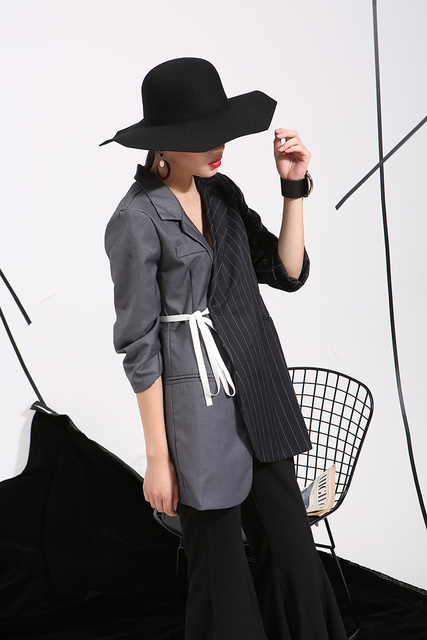 2016 The new listing European and American style has caused the irregular striped suit jacket sleeve ladies wholesale  47632