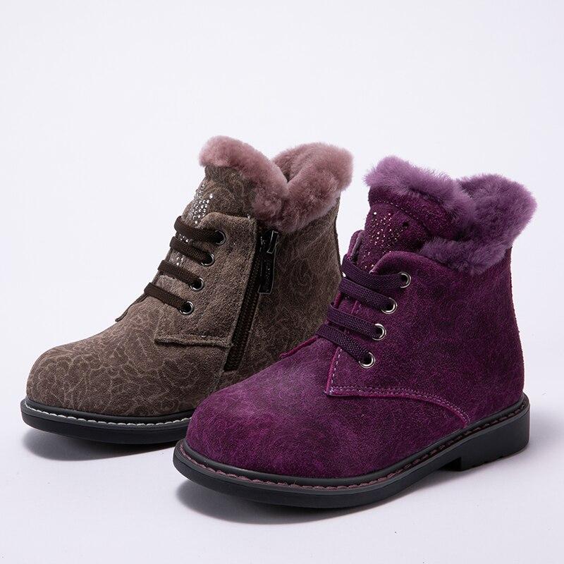 Princepard hiver 100% chaussures orthopédiques en fourrure naturelle pour filles 23-28 taille 2018 nouvelles bottes orthopédiques pour enfants semelles TPR