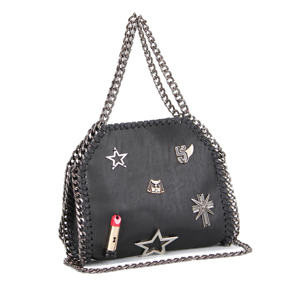 05d31fef28 HS RHYME Falabella Chain Bag Ladies Soft Pu Leather Handbag Chain Edged  Lipstick and Stars Decorated Shoulder Bag-in Shoulder Bags from Luggage    Bags on ...