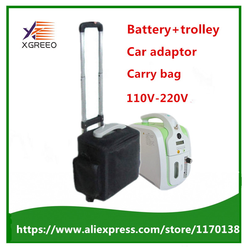 XGREEO XTY BC101 Oxygen Concentrator with Battery Trolley Carry bag Car adaptor oxygen generator concentrator