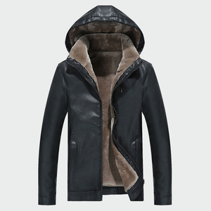 Image 2 - Mens Leather Jackets Winter Warm PU Hooded  Coats Plus Thick Windproof Biker Motorcycle Outerwear Brand Clothing M 4XL