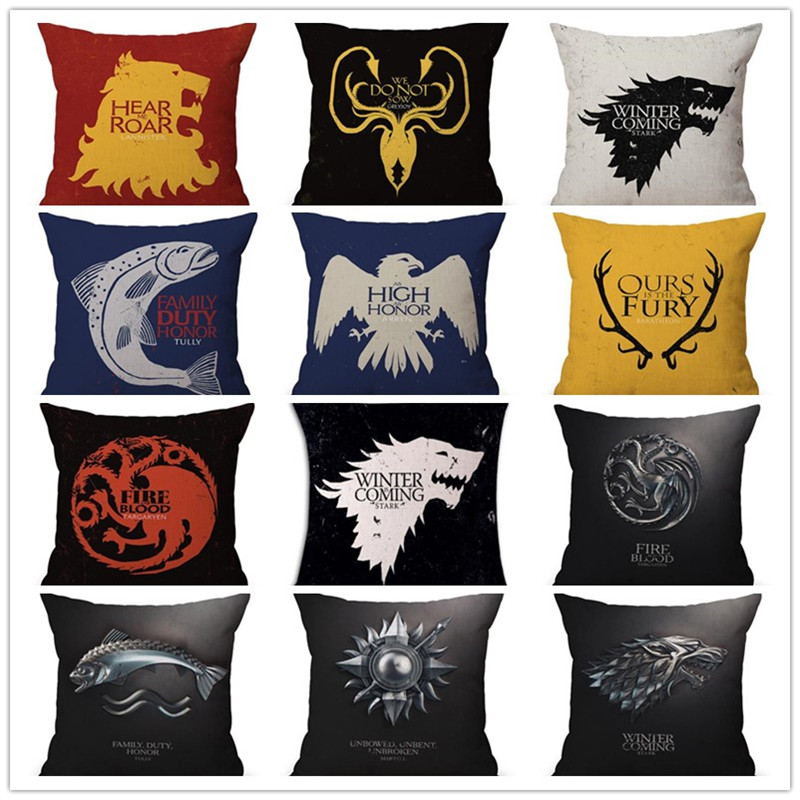 18 Square Game Thrones Linen Cotton Cushion Covers Game Of Thrones Movie Pillow Cases 3D Cushions Home Customized Cushions
