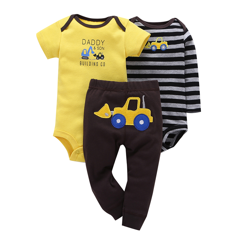 2018 Baby Boy 3 Pieces Set Yellow Cartoon Short Sleeve+Climbing Striped Full Sleeve Romper+Pants Free Shipping Baby Clothes