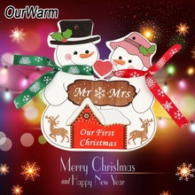 OurWarm DIY Wooden First Christmas Ornament New Year 2019 Snowman Hanging for Couple Tree Decoration
