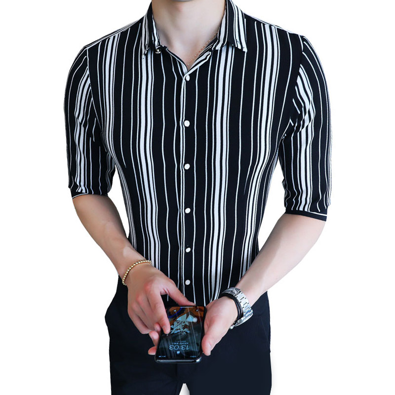 Korean Shirt Men Fashion 2018 Striped Half Sleeve Casual Shirts Slim Fit Night Club Sexy Youth Social Men Shirt 5XL Blouse Men