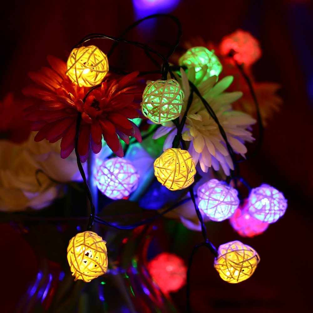 Outdoor Bistro Solar Powered Globe String Lights: 30 LED Rattan Ball Lamp Solar Powered String Lights