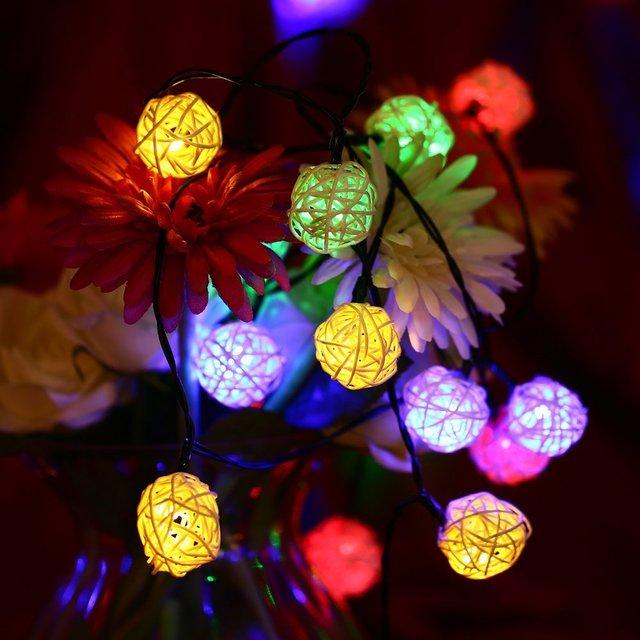30 LED Rattan Ball Lampe Solarbetriebene Lichterketten Wasserdicht Globus  Fee Außenleuchten Für Gärten Häuser Hochzeit Weihnachten