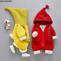 Velvet Lining New Born Baby Clothes Cute Hooded Baby Romper For Boys Baby Girl Clothes Fall & Winter 2019 Baby Clothing Jumpsuit