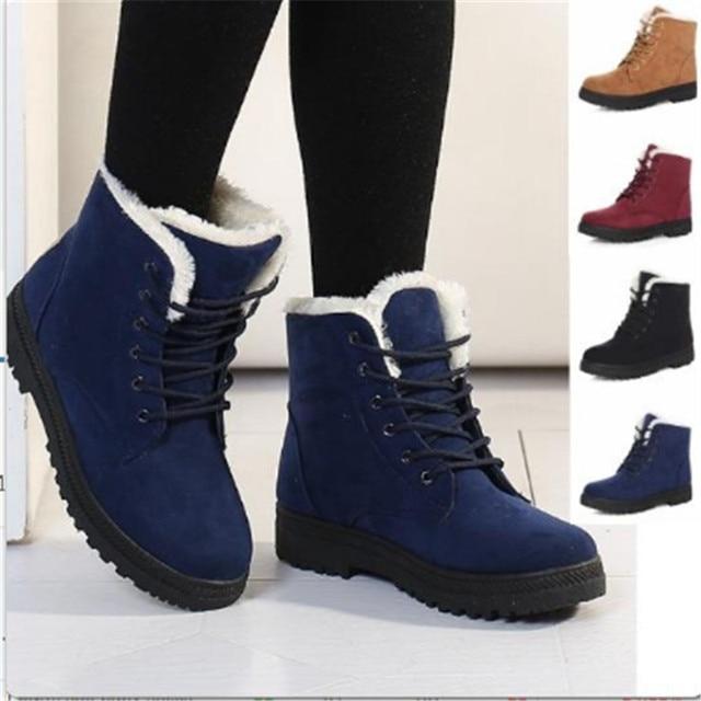 dcea2982b9 2017 New ClassicTeenage Students Winter Warm Thick Shoes Women s Snow Boots  Fashion Short Boots Girls Plush Flat Shoes EU 34-44