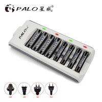 PALO быстрое зарядное устройство 8 слотов светодиодный дисплей смарт-зарядное устройство AAA зарадное устройство для батареии АА для Ni-MH Ni-CD AA ...