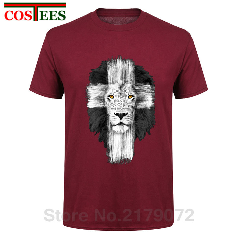 New Mens Jesus Kerusso Brand Christian T-Shirt Mens Lion Cross Fear Not Tops Tee Shirts Casual Harajuku Camisetas Hombre T Shirt