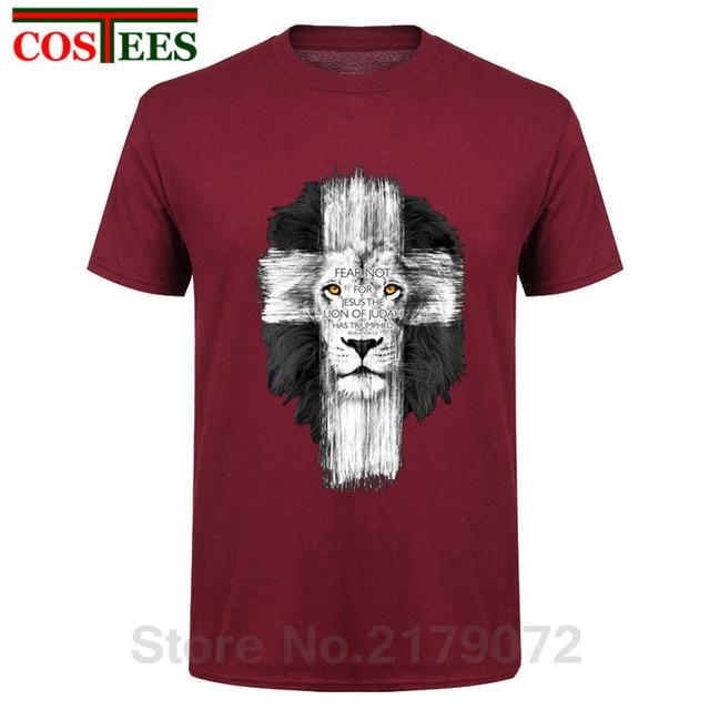 d1c77744c Nova Kerusso Christian T-Shirt Dos Homens Da Marca Dos Homens Jesus Cruz  Leão Medo