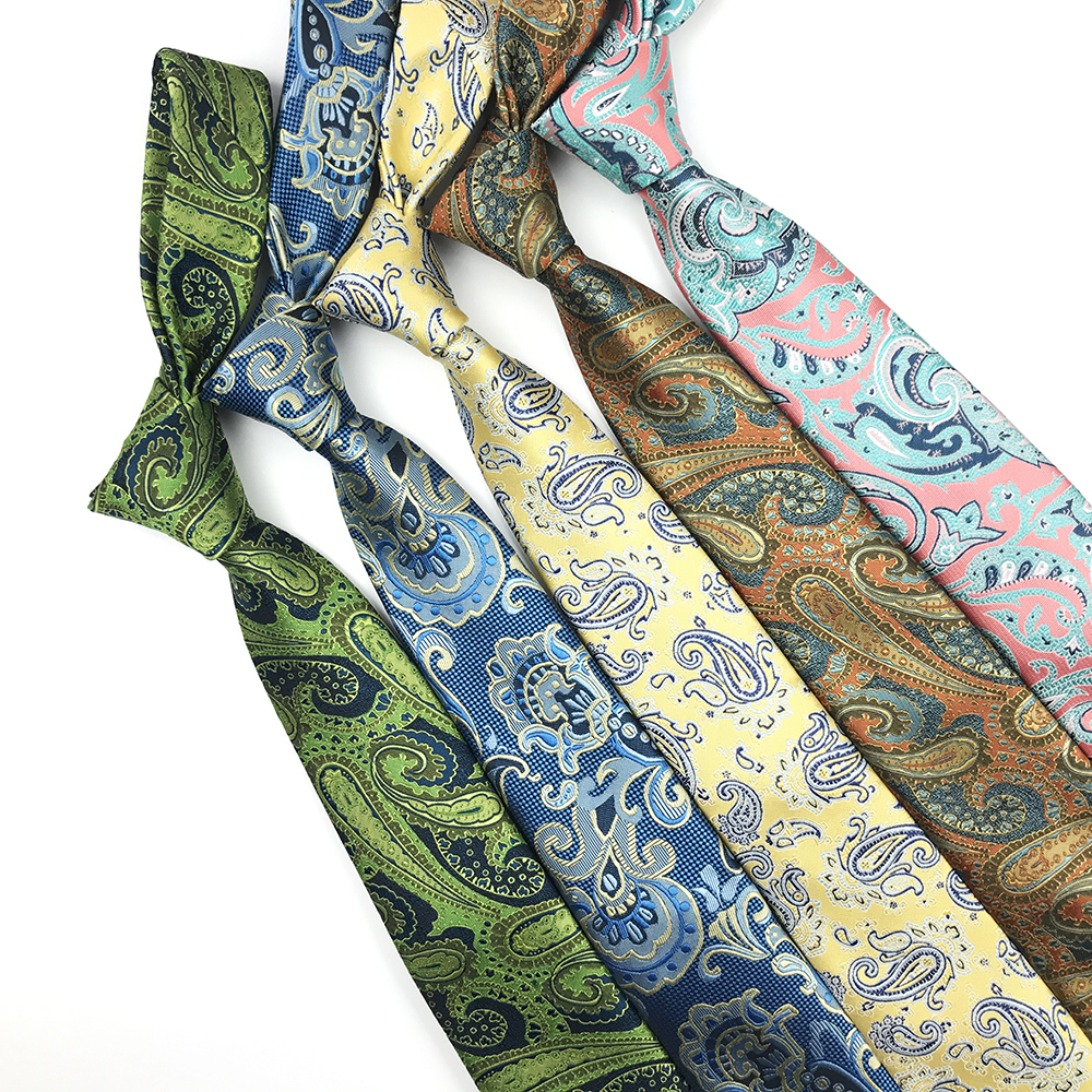 2019 New Fashion Polyester Paisley Woven Ties For Men 7.0cm Colorful Skinny Neckties For Men
