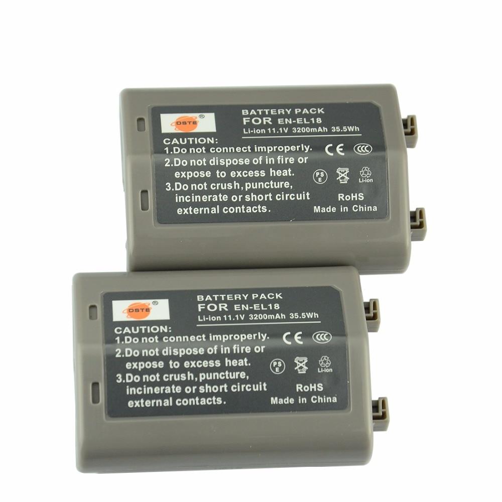DSTE 2PCS en-el18 EN-EL18 Rechargeable Li-ion Battery for Nikon D4 D5 Camera dste np 48 rechargeable li ion battery for fujifilm xq1 new digital camera