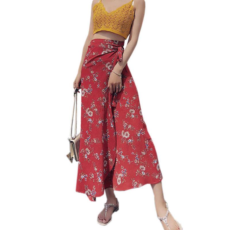 80512d0d4a Floral Print Chiffon Women's Skirt 2018 Summer Women Clothes Beach Skirts  Bohemian Long Skirt Red Ruffle