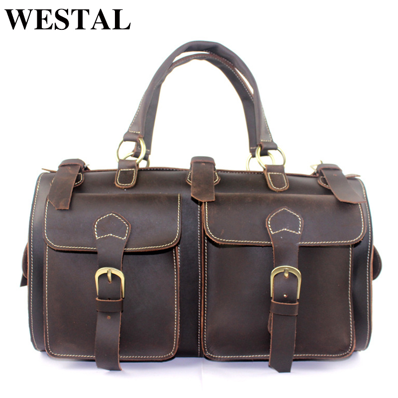 WESTAL Crazy Horse Luggage Travel Bags Luggage Organizer carry on luggages Travel Duffle Bag Suitcases Leather Traveling Bag все цены