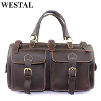 WESTAL Crazy Horse Luggage Travel Bags Luggage Organizer carry on luggages Travel Duffle Bag Suitcases Leather Traveling Bag