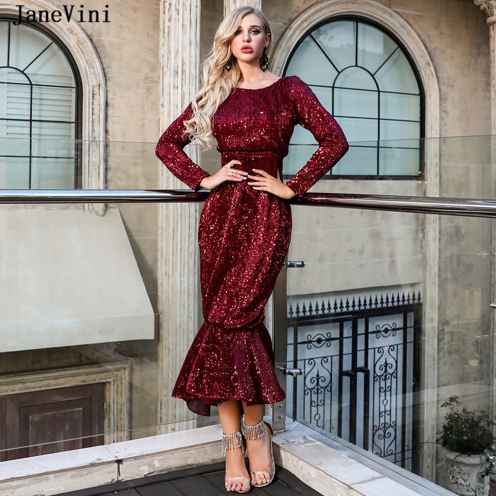 JaneVini Sexy Burgundy Mermaid   Cocktail     Dresses   Ruffles 2019 Scoop Neck Long Sleeves Sparkling Sequined Tea-Length   Cocktail   Jurk