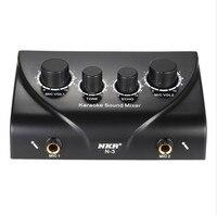 Karaoke Sound Mixer Dual Mic Inputs Microphone Control Machine PC TV Mini Audio Digital Amplifier Echo EU /US Plug