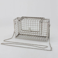 2017 Fashion design personality hollow metal cages party clutch evening bag shoulder bag ladies handbag messenger bags purse