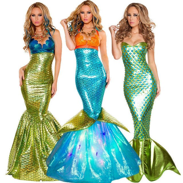 Adult New Dress Mermaid Costumes Halloween Cosplay Dress Romantic Beauty Dress Sea Maid Sexy Dress Woman Cosplay Polyester
