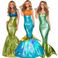 Vente chaude femmes sirène costume halloween cosplay sirène dress romantique beauté mer bonne sexy dress femmes sirène fantaisie dress
