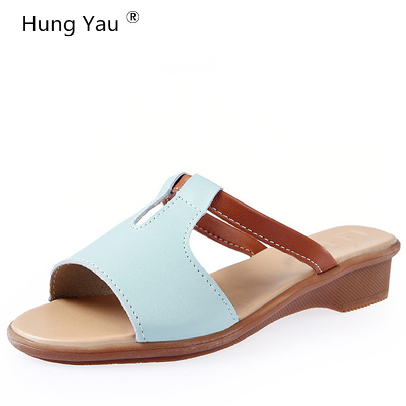 Summer Style Women Shoes Genuine Leather Casual Cool Slippers Female Flat Sandals New Soft Bottom Beach Slippers Plus Size 9 pavone