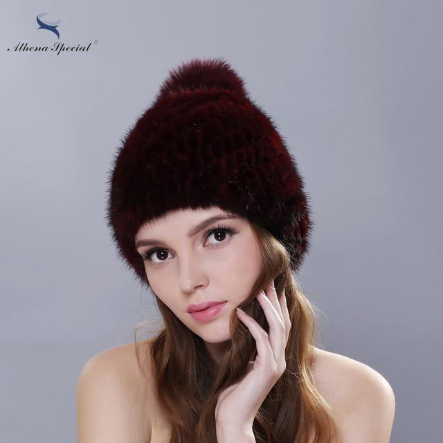 2016 Novo Design de Espessura de Pele De Vison Chapéu De Pele Menina Tampas de Inverno chapéus Para Mulheres Genuine Mink Fur Hat Gorros Tampas Frete Grátis
